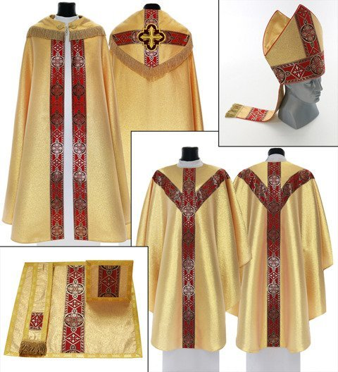 Set of Gothic Cope, Mitre, Chasuble, Burse, Maniple and Chalice veil model 113