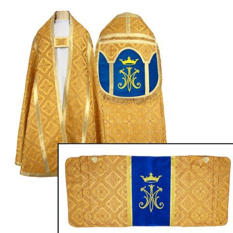 Set of Marian Roman Cope with humeral veil