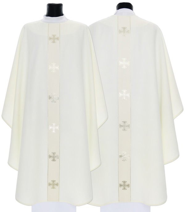 Cream Gothic Chasuble Maltese Crosses model 104