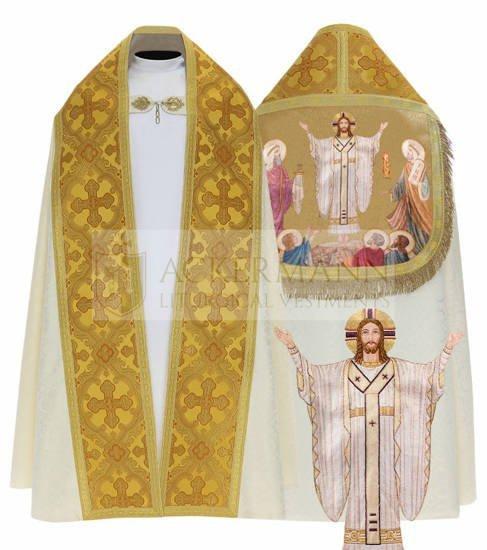 Cream Roman Cope Jesus is Risen model 062