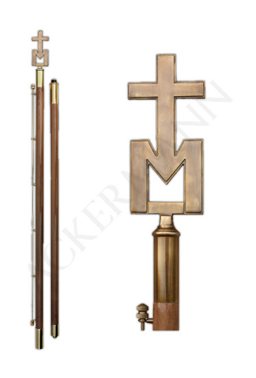 Flag pole with brass church ornament Marian IV