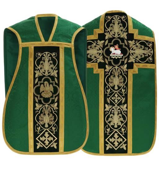 Green Roman Chasuble Lamb model 814