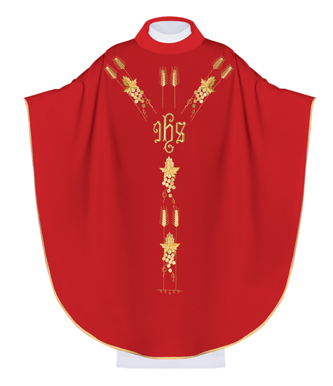 Red Gothic Chasuble IHS model 057