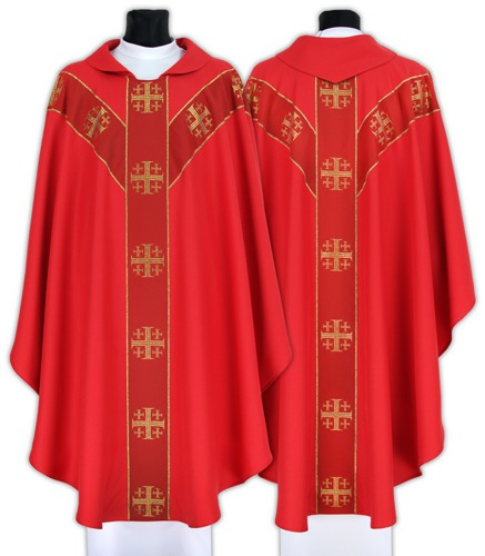 Semi Gothic Chasuble Jerusalem crosses model 103