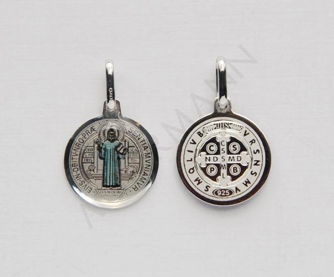 Silver medallion Saint Benedict