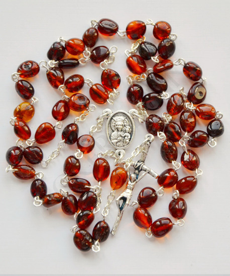 Silver Rosary with dark Baltic ambers