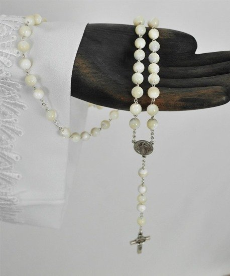 Silver Rosary with pearls