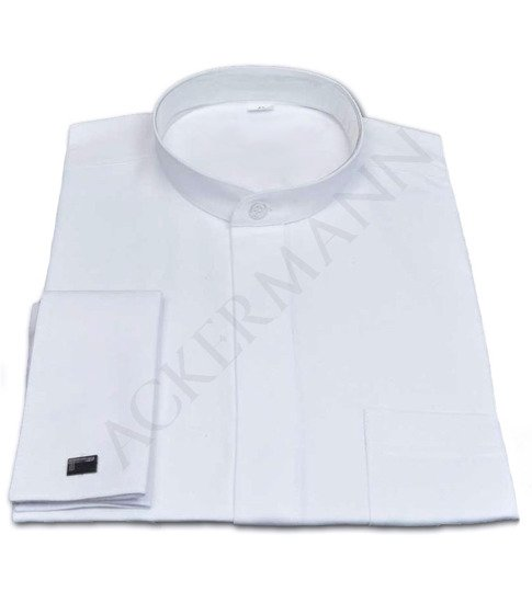 White Clergy shirt with a small collar for a cassock