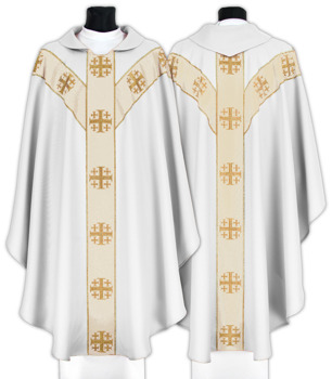 Semi Gothic Chasuble Jerusalem crosses model 103
