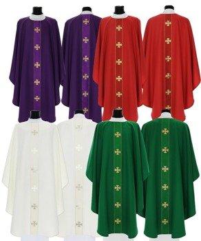 Set of 4 Gothic Chasubles Maltese Crosses model 104